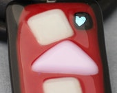 Fused Glass Pendant - Black, Red, Pink and Cream