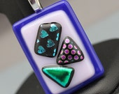Fused Glass Pendant - Blue and Pink with Dichoric Accents