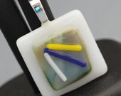 Fused Glass Pendant - White, Green, Yellow and Blue