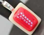 Fused Glass Pendant - Cream and Red