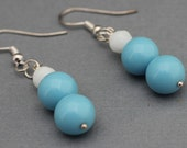 Earrings - Turquoise and White glass beads