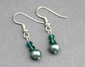 Earrings - Sage Green Faux Pearl
