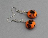 Earrings - Spiders on Pumpkins - SALE