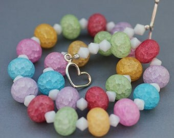 Bright Pastel Necklace - Multi Colored Beaded Necklace