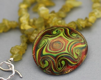 Green Agate Necklace with Green, Copper and Orange Glass Pendant
