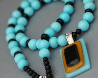 Turquoise and Black Necklace with Fused Glass Pendant
