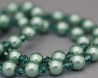 Faux Pearl Necklace - Sage Green