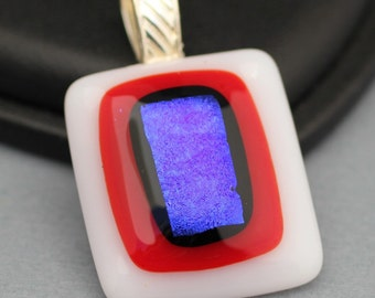 Fused Glass Pendant - Red, White and Blue