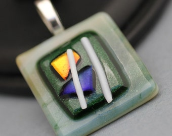 Fused Glass Pendant - Green, Purple, White and Gold