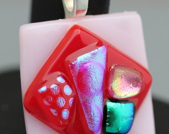 Fused Glass Pendant - Pink, Red, and Green