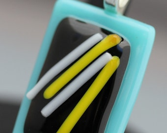 Fused Glass Pendant - Turquoise, Black and Yellow