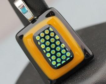 Fused Glass Pendant - Dark Yellow and Black