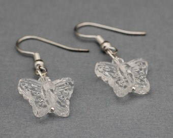 Clear Butterfly Earrings
