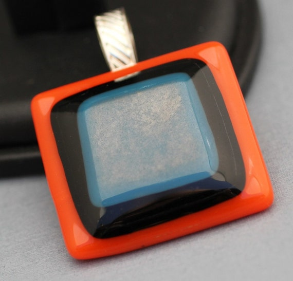 Fused Glass Pendant - Orange Black and Pewter