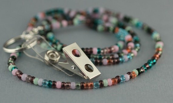 Lanyard - Pink and Green Beaded for ID Badge
