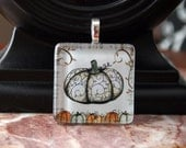 Fall Pumpkin Medium Handmade Art Glass Pendant Necklace