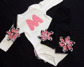 Ruffle Bum Initial Outfit with Matching Leg Warmers and headband