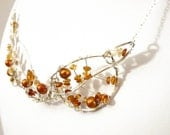 OOAK Silver Autumn necklace- Fall Leaves Sterling Silver Necklace w/ Citrine & Golden Pearls