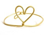 Golden Heart bangle - bracelet - brass