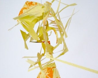 Yellow Trio - vertical sculpture - yellow and orange mobile
