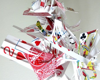 Red Cards- Hanging Vertical Sculpture - red and white mobile