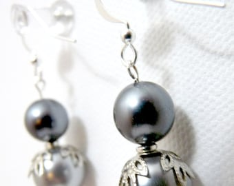 Dark Gray and Silver Frosty Simple Pearl Earrings