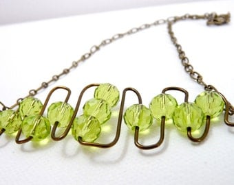 Abstractacus- Sparkling Spring Green Brass Wire Necklace