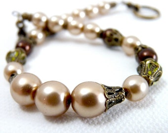 Delicate Cocoa Pearl & Brass Bracelet w/ Chocolate Brown and Sparkling Green Accents