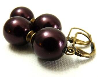Simple Deep Eggplant purple Pearl Earrings