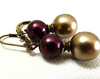 Berries and Cocoa Pearl Earrings on Antiqued Gold