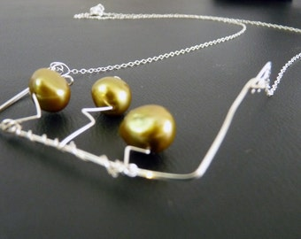 Dancing Cartoon Swamp Trees Sterling and Pearl Necklace - silver with green yellow