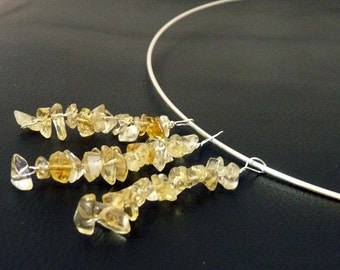 Citrine and Sterling Hoop Necklace