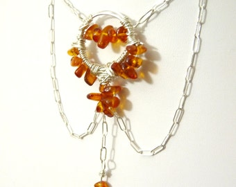 Amber And Sterling drape Silver Necklace- Adjustable Length