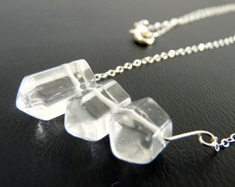 Crystal Necklace - Quartz Crystal Mini Trio Sterling Silver Necklace / pendant