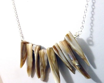 Teething- Mother of Pearl Sterling Necklace