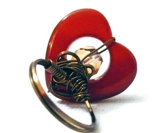 Warm Heart Ring - Agate and Bronze- size 6