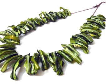 Emerald Seaweed Statement Necklace - mother of pearl fringe collar