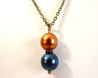 Orange and Navy Blue Pearl Pendant - brass