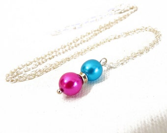 Hot Pink & Bright Blue Pearl Pendant- on silver