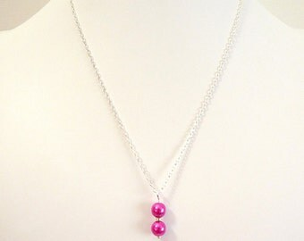 Hot Pink Pearl Pendant- on silver