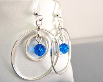 Silver Circle Earrings w/ Sapphire Blue Sparkle