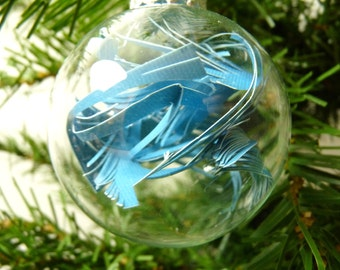Turquoise Blue Cut Paper Modern Holiday Ornament - small - glass - handmade