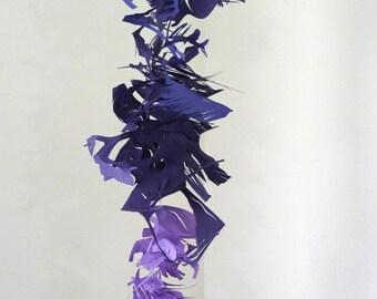 SALE- Indigo Tempest- purple cut paper vertical sculpture - mobile