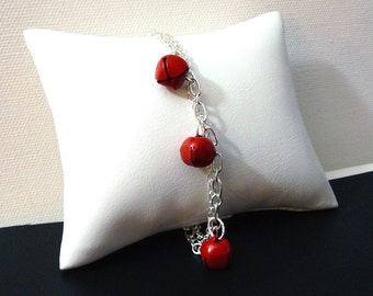 Red and Silver Jingle Bell Bracelet