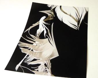 White on Black- broken wing- Cut Paper Sculpture Art Print - 8 x 10 photograph