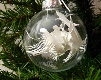 White Cut Paper Modern Ornament - medium - B