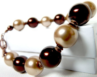 Copper Chocolate with Cocoa- pearl bracelet- brown and champagne- fits 7 plus inch wrist