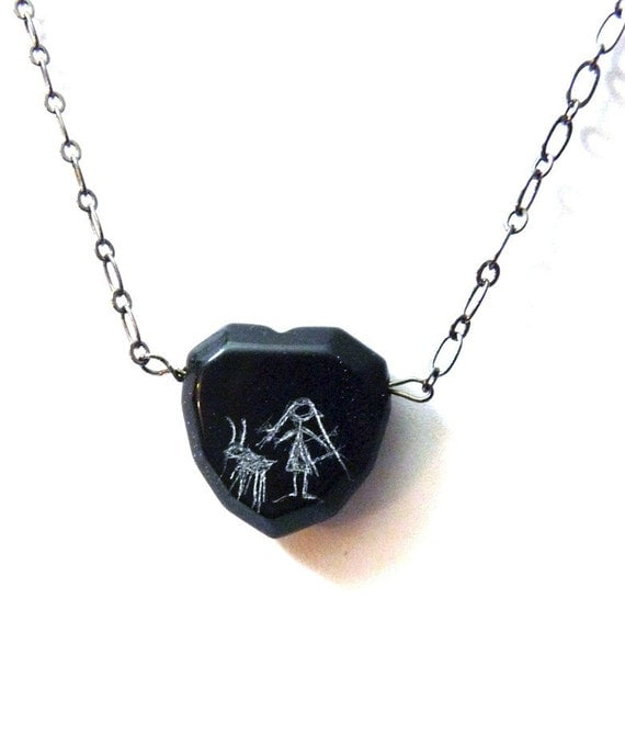 Cave Painting Pendant Girl with Goat - Black Heart  Necklace- Obsidian and Gunmetal