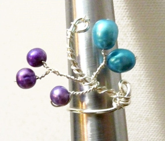 Sterling Silver Twig Ring - Purple & blue - size 8 with freshwater pearls