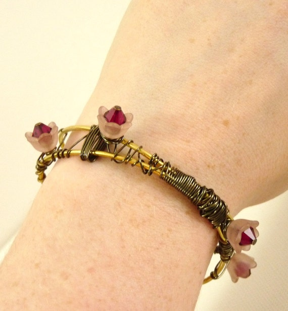 Blossoming Vines Brass Cuff - bracelet with flowers
